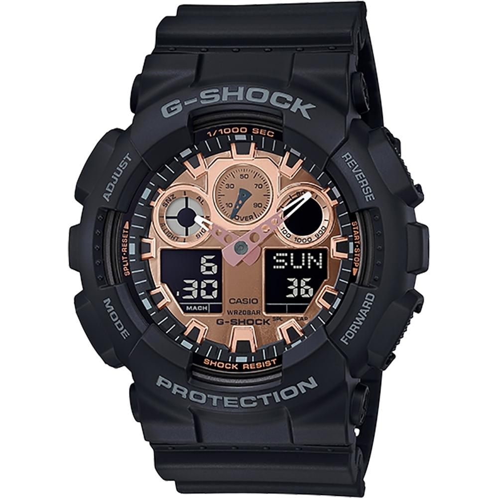 CASIO 卡西歐G-SHOCK 重機玫瑰金手錶(GA-100MMC-1A)