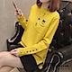 小貓口袋彩色鐵環袖口毛衣-共5色-F可選-初色