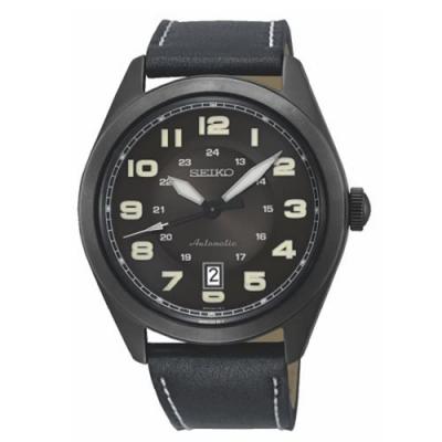 SEIKO 精工 日期顯示機械皮帶錶-黑/44mm(SRPC89J1)