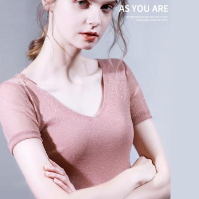 專注內搭-短袖T恤V領網紗內搭衫半袖上衣(五色S-3XL可選)