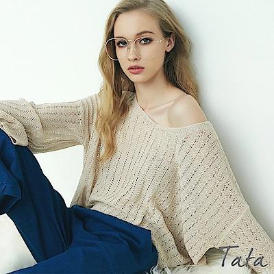 素色V領鏤空寬袖罩衫上衣 共四色 TATA