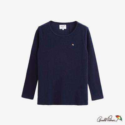 Arnold Palmer -女裝-後開岔異材質拼接T恤-藍