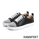 HANNFORT CAMPUS閃亮水鑽鞋頭厚底休閒鞋-女-閃耀黑