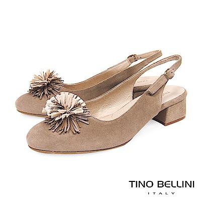 Tino Bellini 西班牙進口優雅繁花後拉帶中跟包鞋 _ 駝