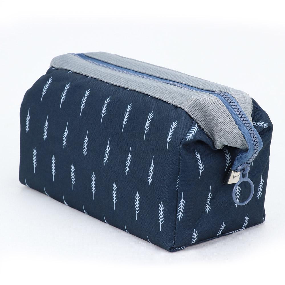 旅遊首選 印花鐵架大容量化妝包 收納袋 旅行包 隨身包 洗漱包(深藍羽毛)