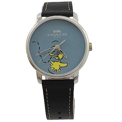 COACH Woodstock圖樣經典皮革手錶(黑)
