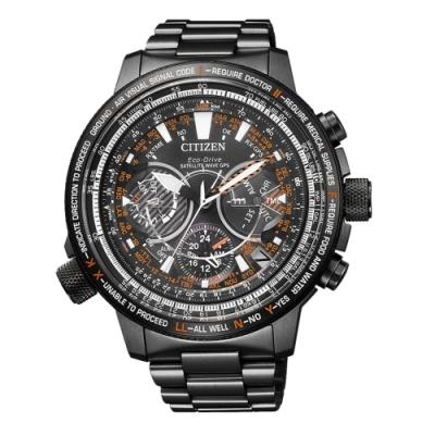 CITIZEN PROMASTER光動能鈦金屬科技旅程三眼腕錶-鐵灰