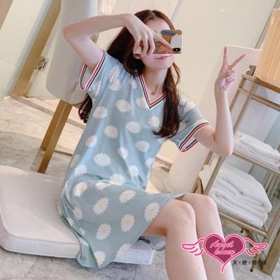 居家睡衣 青空白菊 莫代爾一件式短袖連身睡裙(藍F) AngelHoney天使霓裳