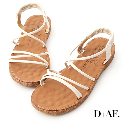 D+AF 仲夏氛圍.交叉細帶平底涼鞋*米白