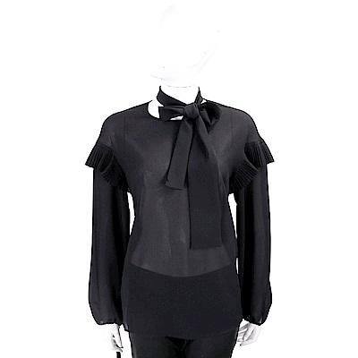 PINKO 百褶細節黑色綁帶雪紡紗上衣