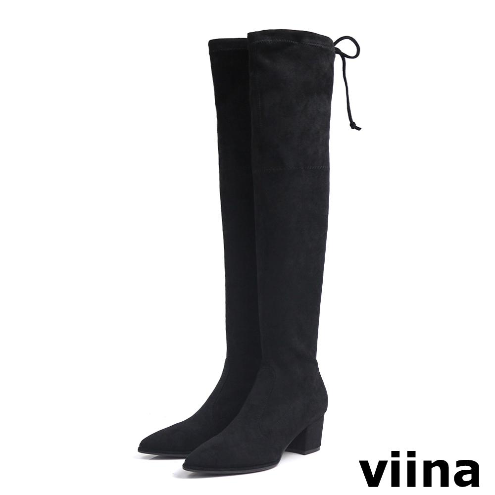viina Basic 絨毛布高跟過膝靴 - 黑