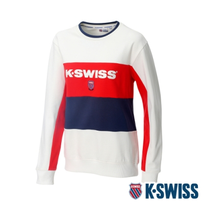 K-SWISS Heritage Round Sweater圓領長袖上衣-女-白