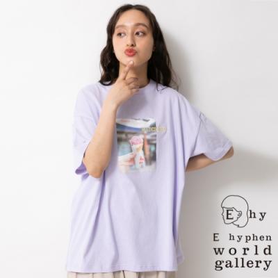 E hyphen 照片打印寬鬆長版落肩T恤