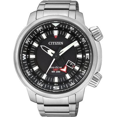 CITIZEN 星辰 PROMASTER 光動能雙時區腕錶-黑/46mm BJ7081-51E