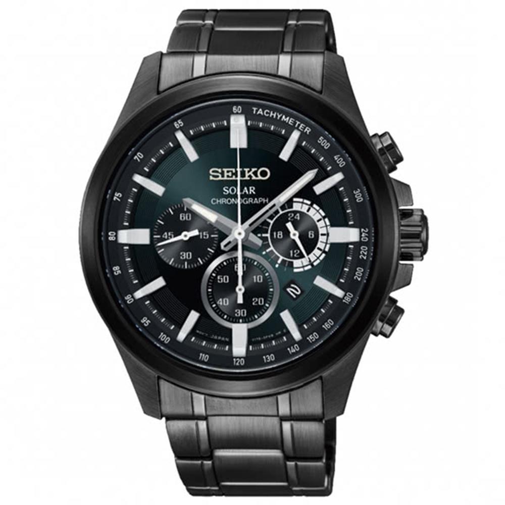 SEIKO精工Criteria太陽能計時腕錶-綠寶石V175-0ER0M/SSC691P1
