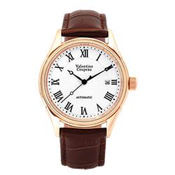 Valentino Coupeau 范倫鐵諾 古柏 經典羅馬機械錶(玫殼/白面/咖皮)