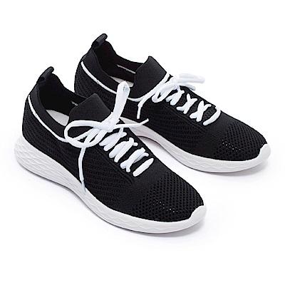 休閒鞋 MELROSE 運動風綁帶造型飛織厚底休閒鞋-黑