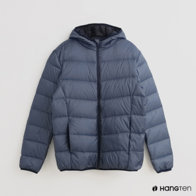 Hang Ten - 男裝 - 霧面純色拉鍊連帽羽絨外套 - 藍