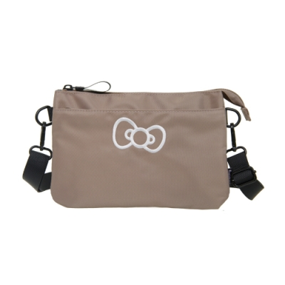 【Hello Kitty】蝴蝶結凱蒂-雙層側背包-灰 FPKT0E002GY