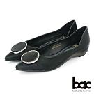 【bac】復古風潮尖頭特殊閃色大圈鑽裝飾平底鞋-黑