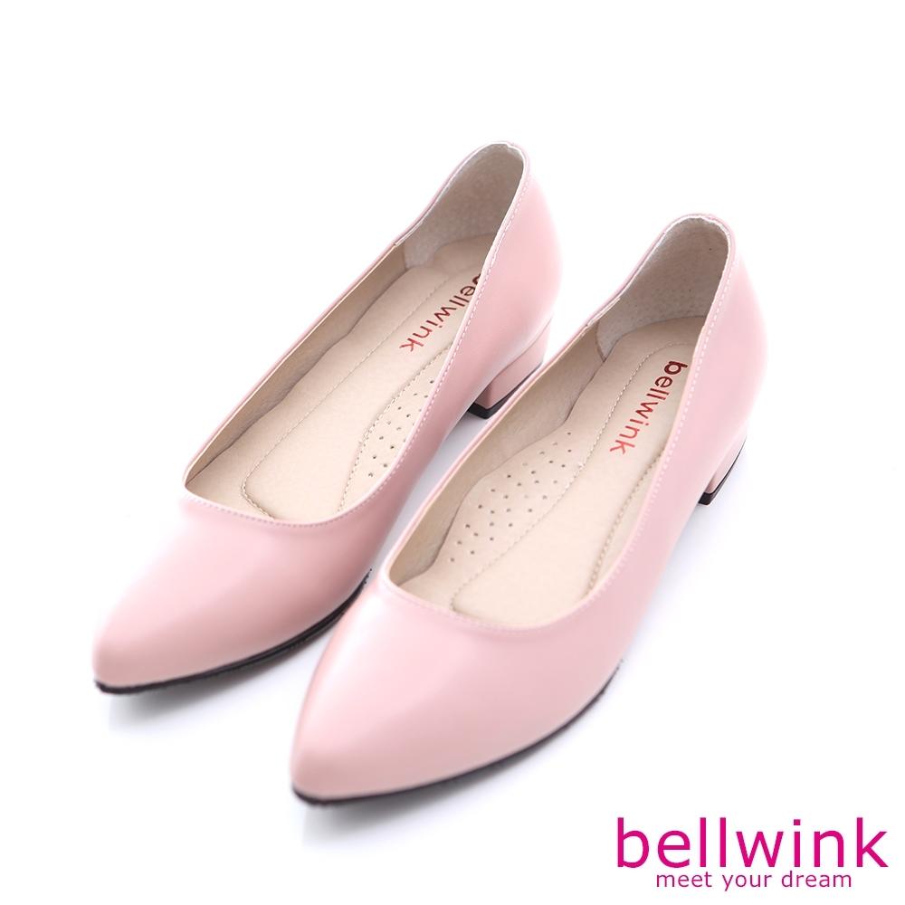 bellwink 素面皮革尖頭低跟鞋-粉色-b9902pk