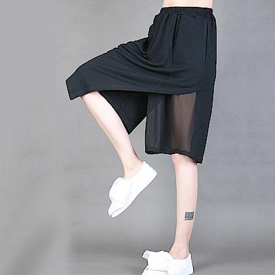 裙褲不規則拼雪紡鬆緊腰寬鬆五分褲-設計所在 MP1591