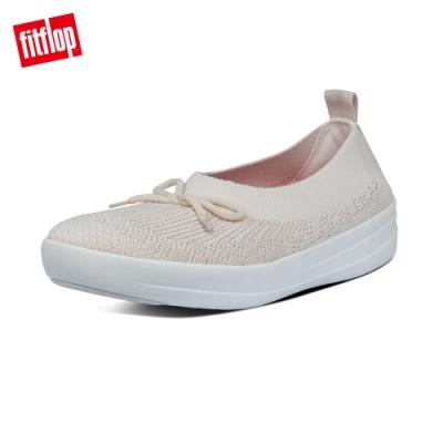 【FitFlop】UBERKNIT 易穿脫舒適休閒娃娃鞋-女(白石色)