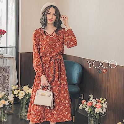 東京著衣-yoco 韓國姐姐交叉V領氣質碎花洋裝-S.M.L(共二色)