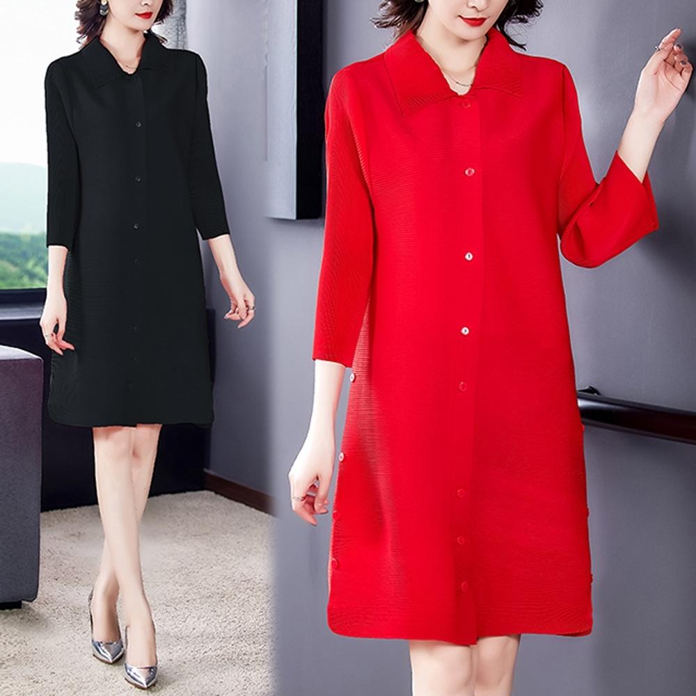 【KEITH-WILL】(預購)韓國氣質韓版休閒壓褶洋裝(共2色) (紅色)