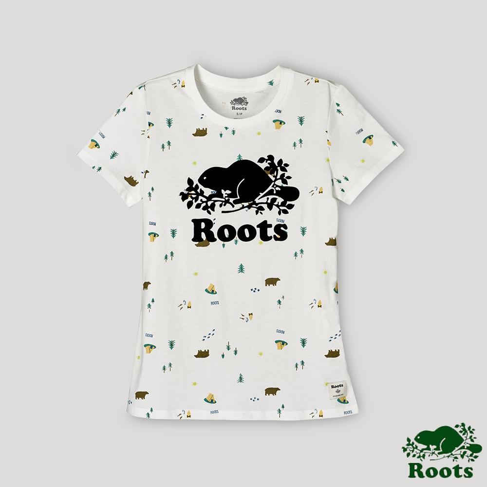 Roots女裝-戶外野營系列 露營元素短袖T恤-白色