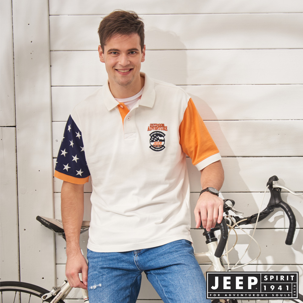 JEEP 撞色拼接美國風短袖POLO衫-白色