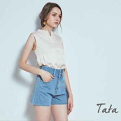 高腰牛仔修身短褲 共二色TATA