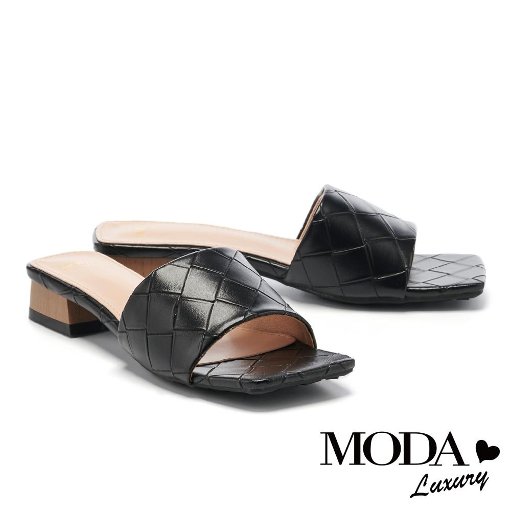 拖鞋 MODA Luxury 氣質風尚編織質感一字方頭低跟拖鞋-黑