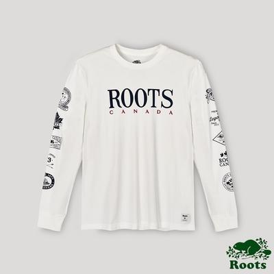 Roots男裝- 復古LOGO長袖T恤-白色