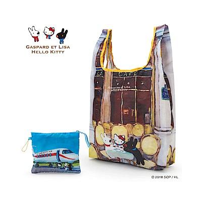 Sanrio HELLO KITTY*麗莎和卡斯柏可折疊環保購物袋(咖啡店)
