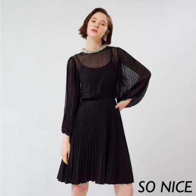 SO NICE優雅針織領壓褶雪紡洋裝
