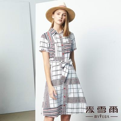 MYVEGA麥雪爾 純棉2D趣味線條連身長洋裝-白