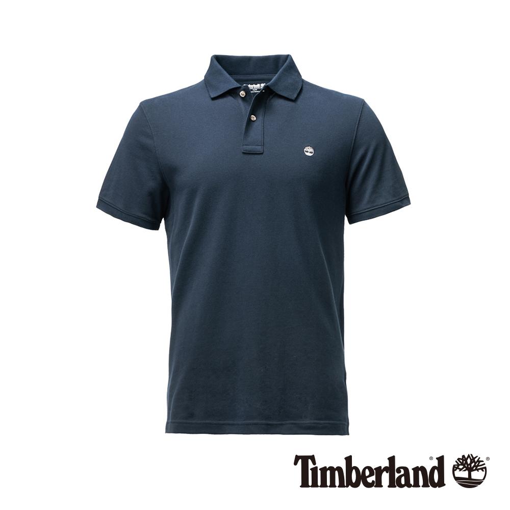 Timberland 男款深藍色LOGO基本款POLO衫|A1NFU