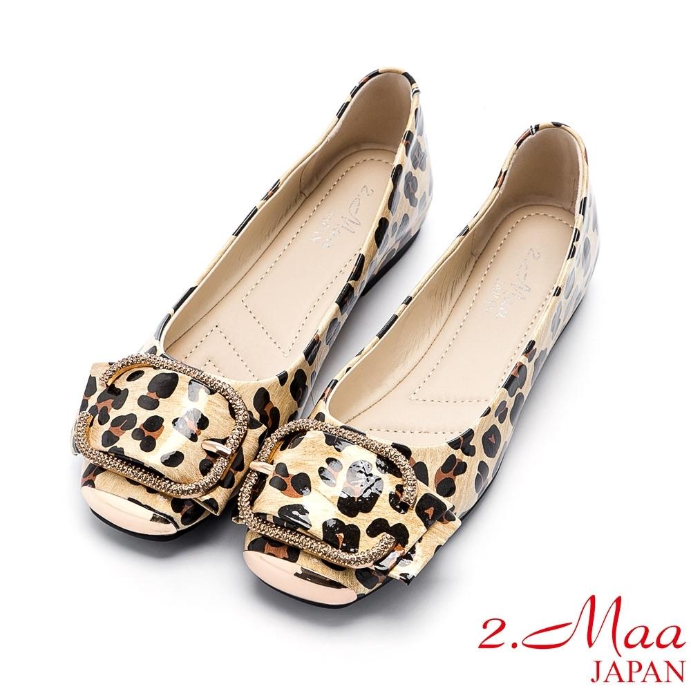 2.Maa 性感豹紋飾扣平底娃娃鞋 - 黃金