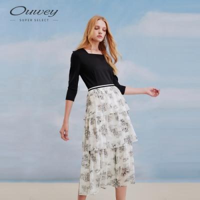 OUWEY歐薇 古典水墨畫印花方領假兩件式洋裝(黑)