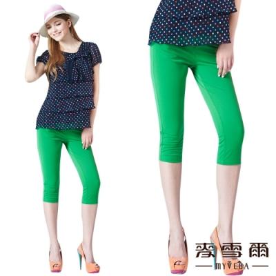 【麥雪爾】彈力素色七分褲-綠
