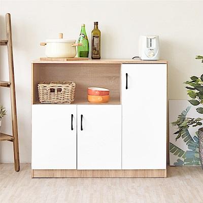 《HOPMA》DIY巧收伍德三門廚房櫃/櫥櫃/收納櫃/置物櫃-寬91 x深40.3 x高81.5cm