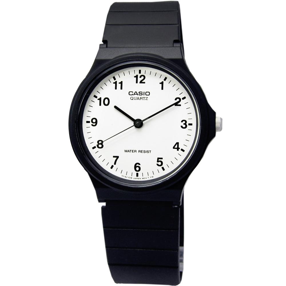CASIO 卡西歐 簡潔復刻 數字時標 日本機芯 橡膠手錶-白色/33mm