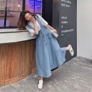IMStyle 韓版時尚休閒木耳邊吊帶牛仔裙【正品】