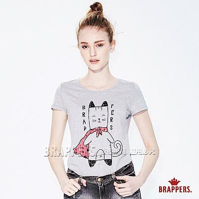 BRAPPERS 女款 披風喵印刷短袖T恤-灰