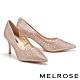 高跟鞋 MELROSE 奢華時尚幾何鏤空透膚水鑽尖頭高跟鞋-粉 product thumbnail 1
