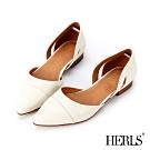 HERLS 輕恬優雅 內真皮鏤空造型尖頭平底鞋-米白色