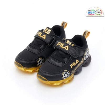FILA KIDS 小童PVC電燈運動鞋-黑金 7-J456U-099