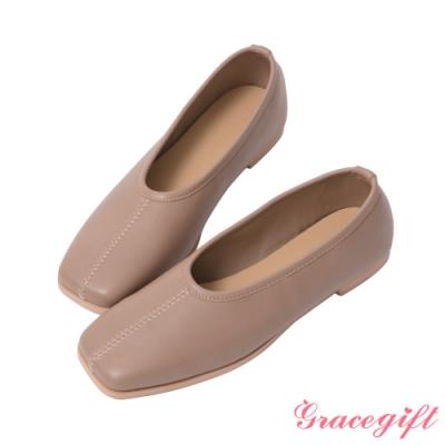 Grace gift-素面方頭柔軟平底鞋 灰褐