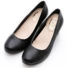 River&Moon跟鞋 台灣製通勤百搭 素面圓頭5.5cm中跟鞋 黑